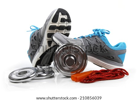 fitness equipment isolated on white background - stock photo