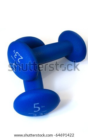 fitness equipment 5 pound blue dumbbells - stock photo