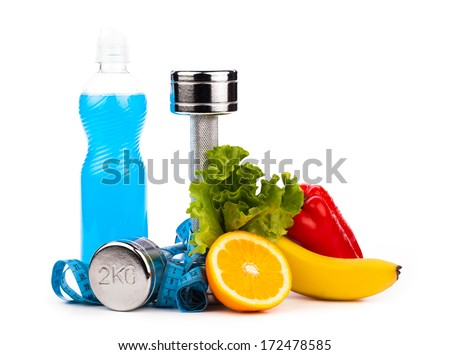 fitness equipment with fruits and bottle of energy drink isolate - stock photo