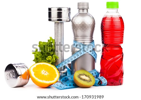 fitness equipment with  fruits and bottle of energy drink  isolated on white - stock photo