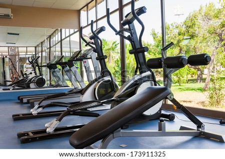 Fitness Facilities with views of nature - stock photo