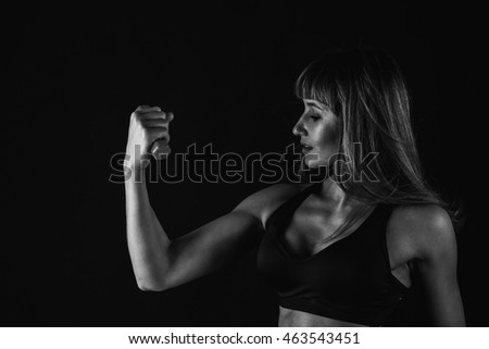 Fitness female woman with muscular body