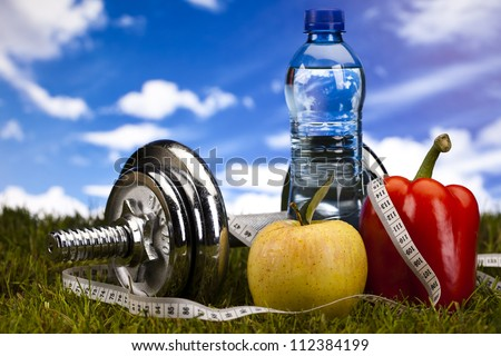 Fitness Food and green grass with blue sky - stock photo