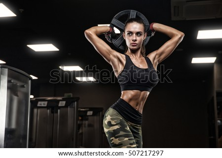fitness girl exercising barbell gym stock photo royalty