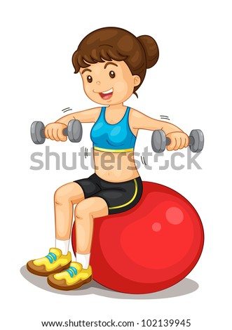 Fitness girl exercising with weights - EPS VECTOR format also available in my portfolio.