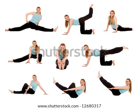 Fitness girl in multiply pose.