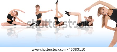 Fitness Girl on blue background. Five poses.