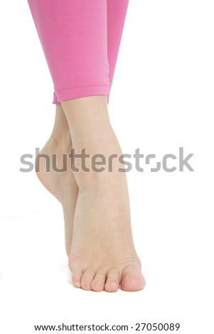 Fitness girl's legs isolated on white background
