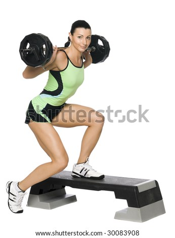 Fitness girl with a weight. Isolated on white