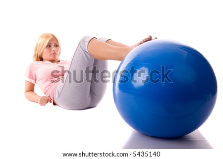 Fitness girl working exercise by pilates ball.