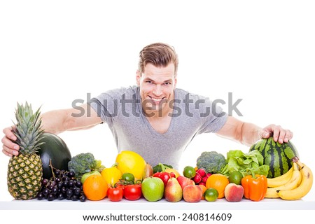 Fitness guy with healthy food - stock photo