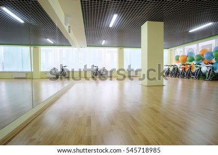 Fitness hall with the sport bikes in it