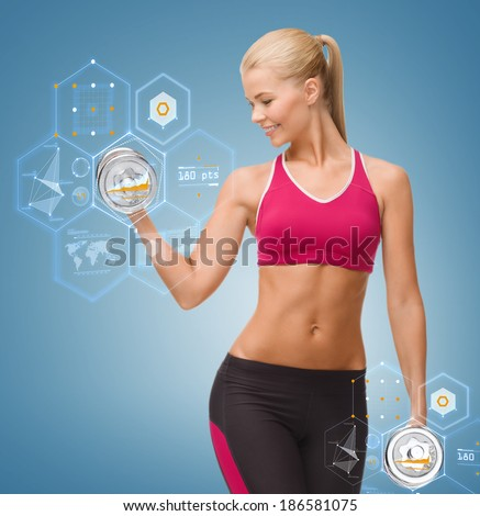 fitness, healthcare and dieting concept - young sporty woman lifting steel dumbbell