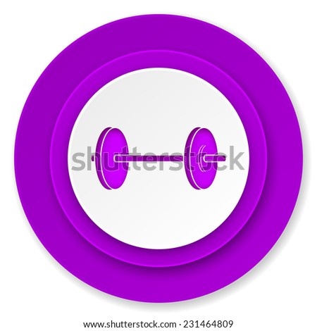 fitness icon, violet button  - stock photo