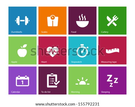 Fitness icons on color background. See also vector version. - stock photo