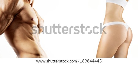 Fitness image of a man and woman's torso isolated on a white background - stock photo