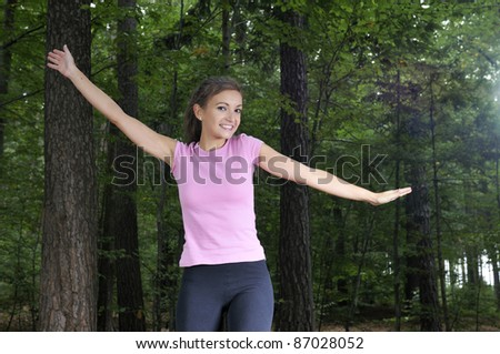 Fitness in the forest - stock photo