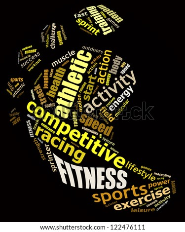 FITNESS info text graphics and arrangement concept (word clouds) on black background - stock photo