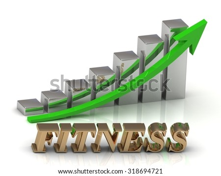 FITNESS- inscription of gold letters and Graphic growth and gold arrows on white background