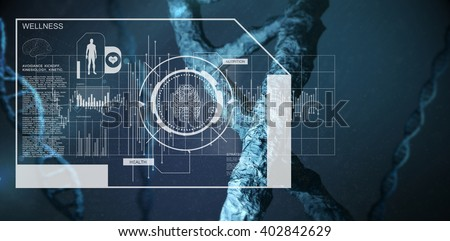 Fitness interface against view of dna - stock photo