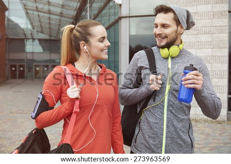 Fitness lifestyle of young couple - stock photo