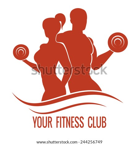 Fitness logo with muscled man and woman silhouettes. Man and woman holds dumbbells - stock photo