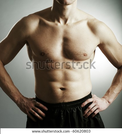 Fitness man  body - stock photo