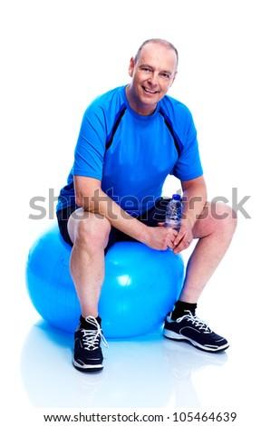 Fitness man. Isolated on white background. - stock photo