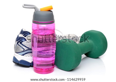 fitness objects white background - stock photo