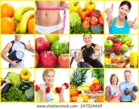 Fitness people. Weight loss and diet collage background. - stock photo