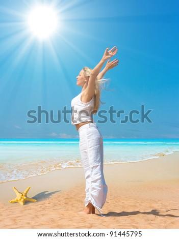 Fitness Pleasure On a Beach - stock photo