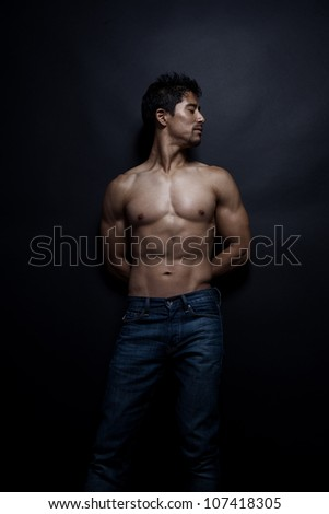 Fitness - Powerful muscular man posing