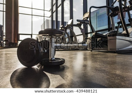 Fitness room with fitness machine on rooftop floor in the morning