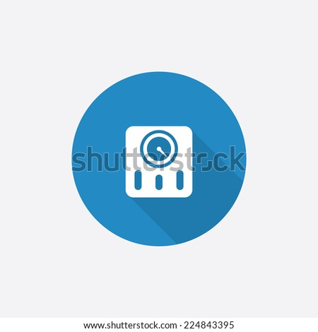 fitness scales Flat Blue Simple Icon with long shadow, isolated on white background   - stock photo