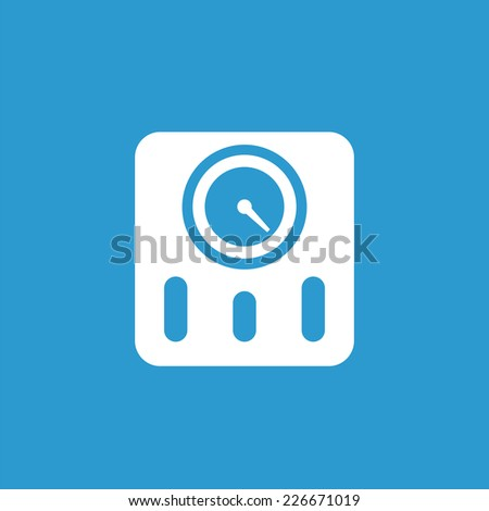 fitness scales icon, isolated, white on the blue background. Exclusive Symbols  - stock photo