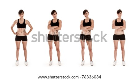 Fitness Series of attractive Woman in shorts and a sports Bra - stock photo