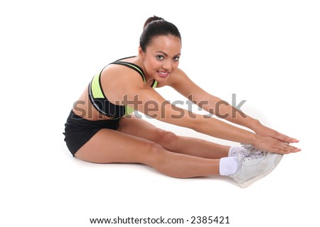 Fitness - Sexy Attractive Young Woman in Work-Out Clothes - stock photo