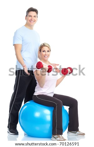 Fitness. Smiling young  strong man and woman. Isolated over white background - stock photo
