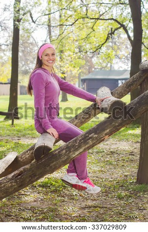 Fitness Smiling Young Woman, Portrait Outdoor, Fresh happy beautiful sporty female in the park, Healthy lifestyle