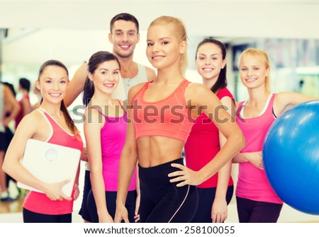 fitness, sport and diet concept - beautiful athletic woman in sportswear - stock photo