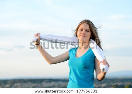 fitness sport healthy and cheerful young woman running outdoor in the countryside - stock photo