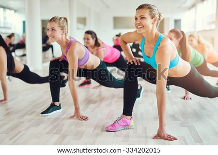 fitness, sport, training, gym and lifestyle concept - group of smiling people exercising in the gym - stock photo