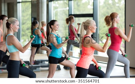 fitness, sport, training, gym and lifestyle concept - group of women working out with dumbbells and steppers in gym - stock photo