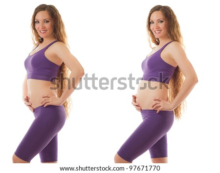 fitness sports body of slim and pregnant women isolated on white background