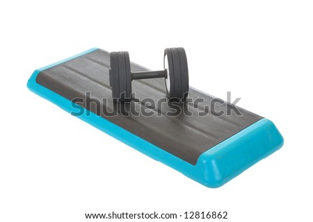 Fitness step board for workout, isolated on white background - stock photo
