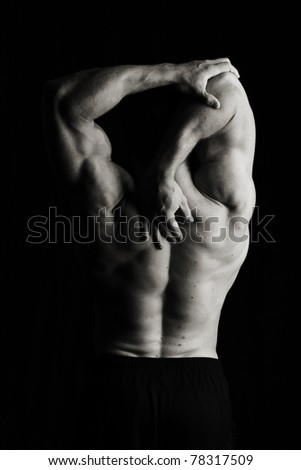 Fitness stretch with yoga - stock photo