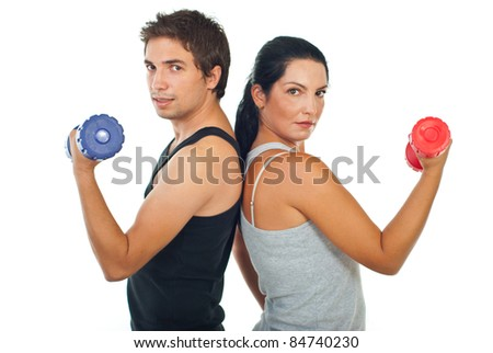 Fitness team of two people holding barbell isolated on white background - stock photo