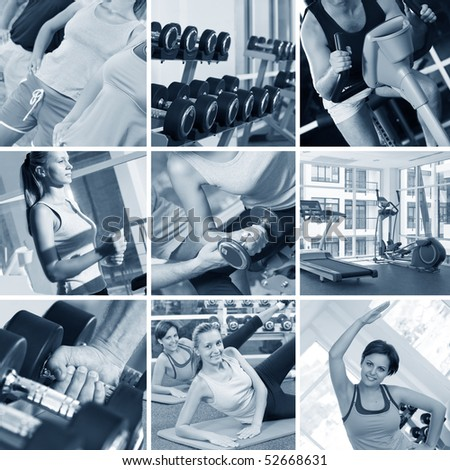 fitness theme black and white  photo collage composed of few images - stock photo