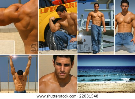 Fitness themed collage, illustrating fitness, fun, and health at the beach. - stock photo