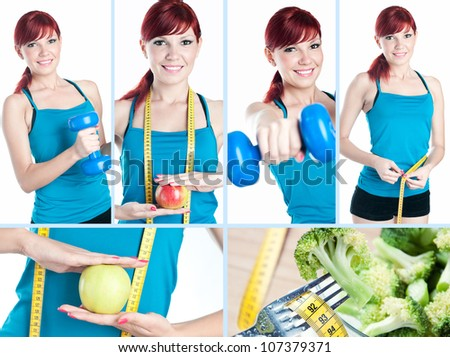 Fitness training, collage - stock photo